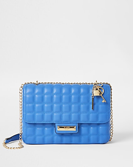 Blue quilted shoulder bag
