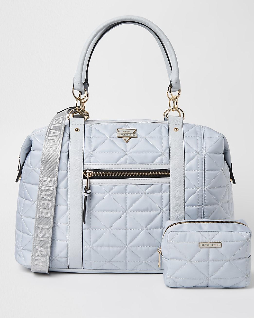 Blue quilted travel bag bundle