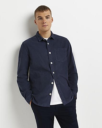 Blue regular fit long sleeve cord shirt
