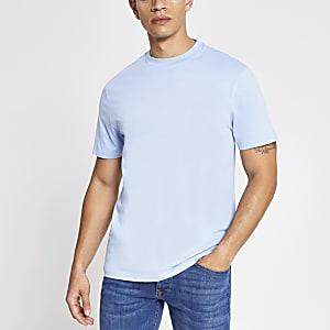 Blauw T-shirt met standaard pasvorm en korte mouwen