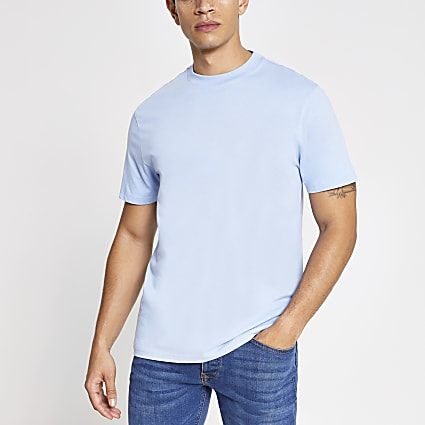Blue regular fit short sleeve T-shirt