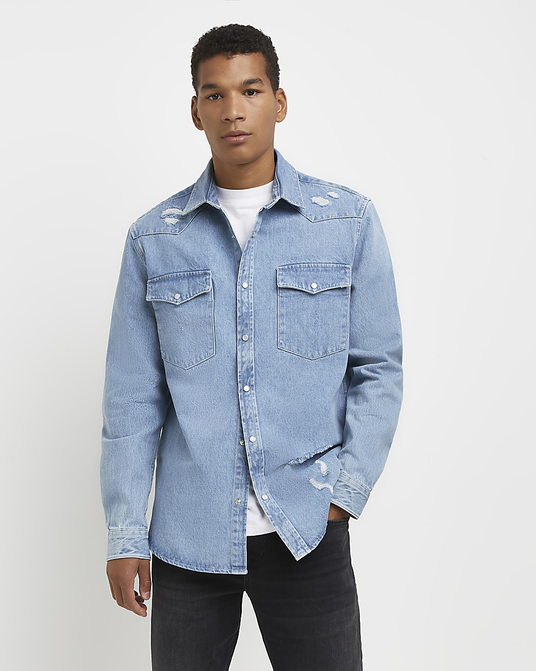 Blue regular fit western ripped denim shirt