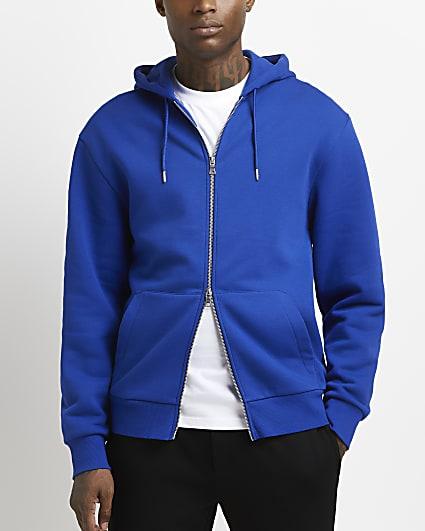 Blue regular fit zip through hoodie