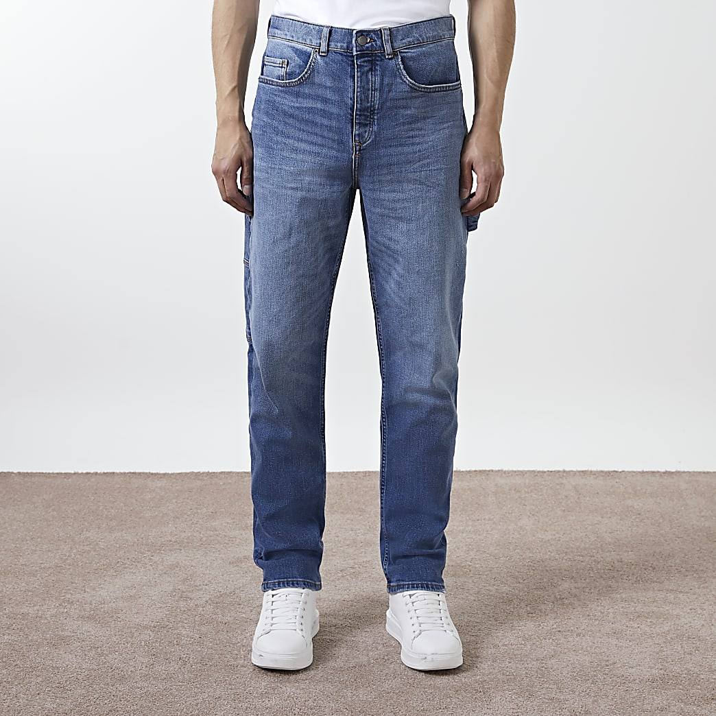 Blue relaxed fit carpenter jeans