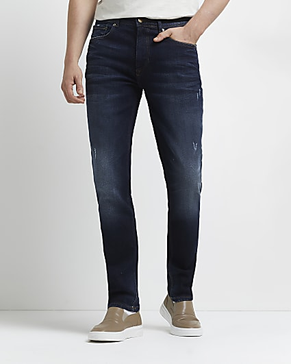 Blue relaxed skinny jeans