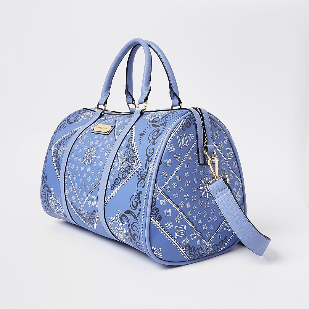 Blue RI bandana print barrel bag