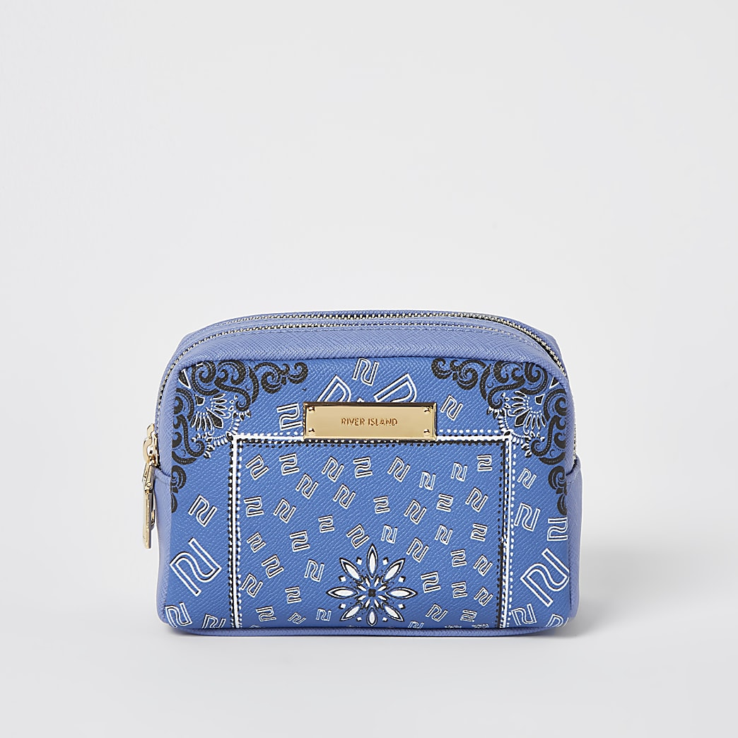 Blue RI bandana print make up bag