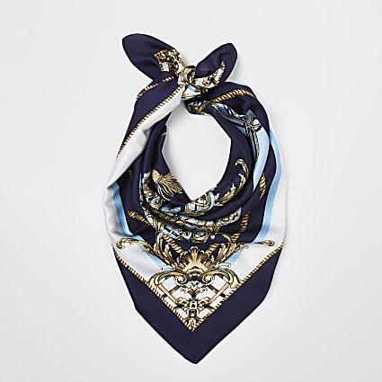 Blue RI baroque print square scarf