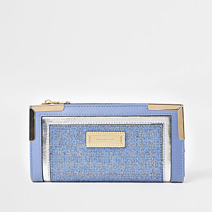 Blue RI boucle metal corner purse