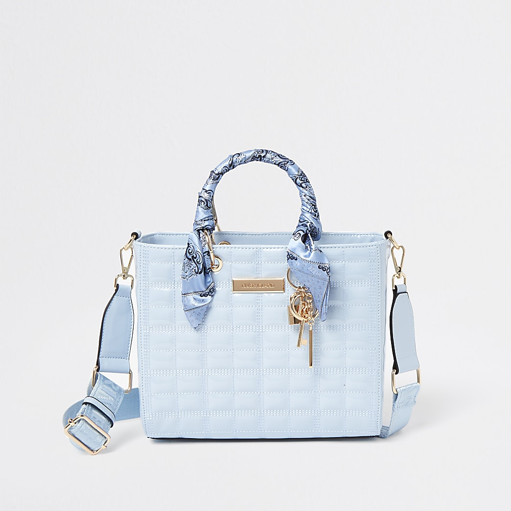 Blue RI boxy quilted tote bag