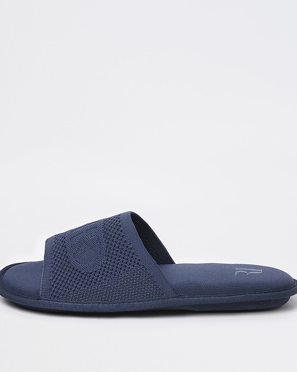 Blue RI branded textured slippers