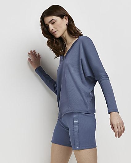 Blue RI branded v-neck top