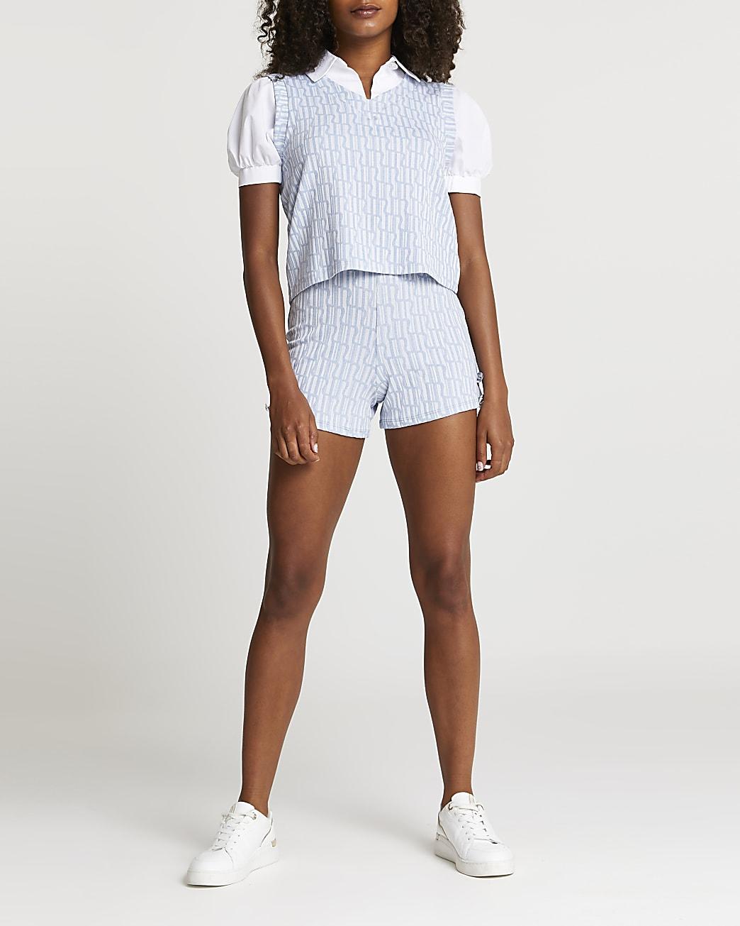 Blue RI button detail jacquard shorts