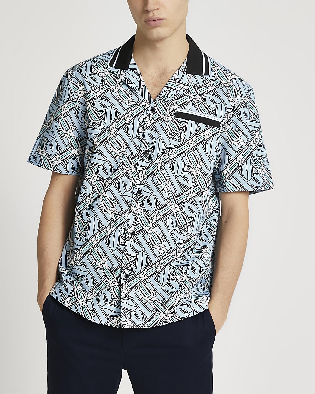 Blue RI chain print short sleeve revere shirt