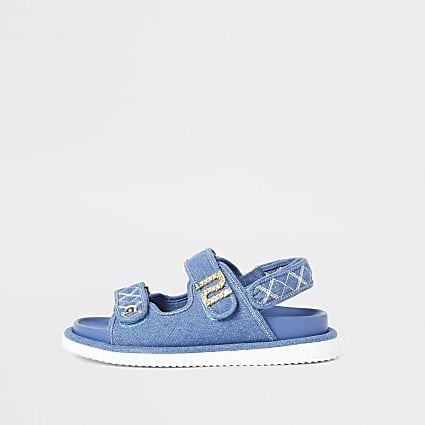 Blue RI embellished denim dad sandals