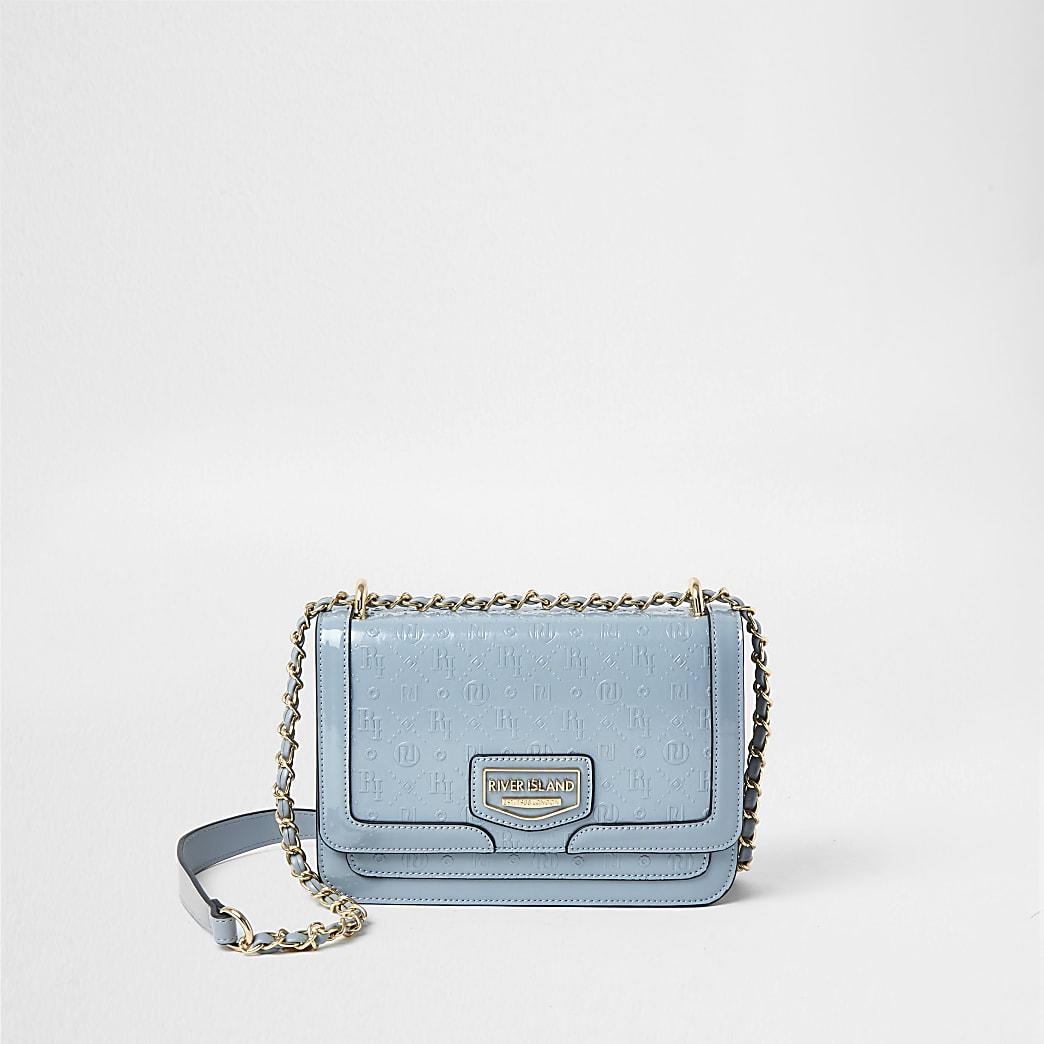 Blue RI embossed satchel bag