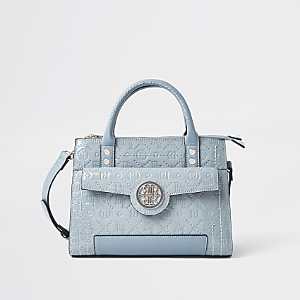 Blue RI embossed tote bag