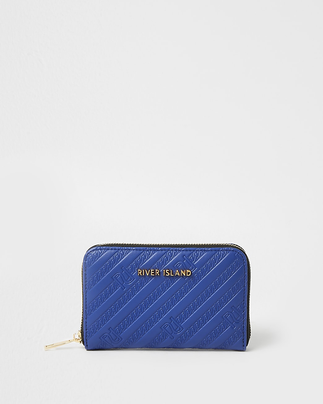 Blue RI embossed ziparound purse