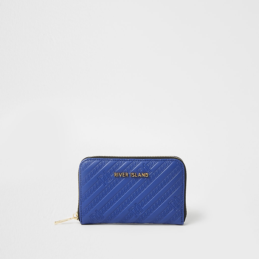 Blue RI embossed ziparound purse