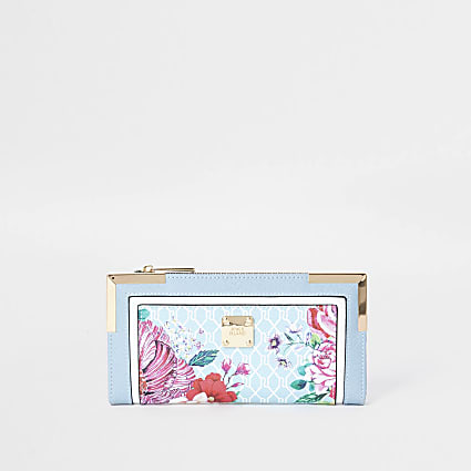 Blue RI floral monogram print purse