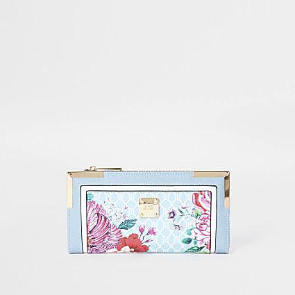 Blue RI floral monogram print purse