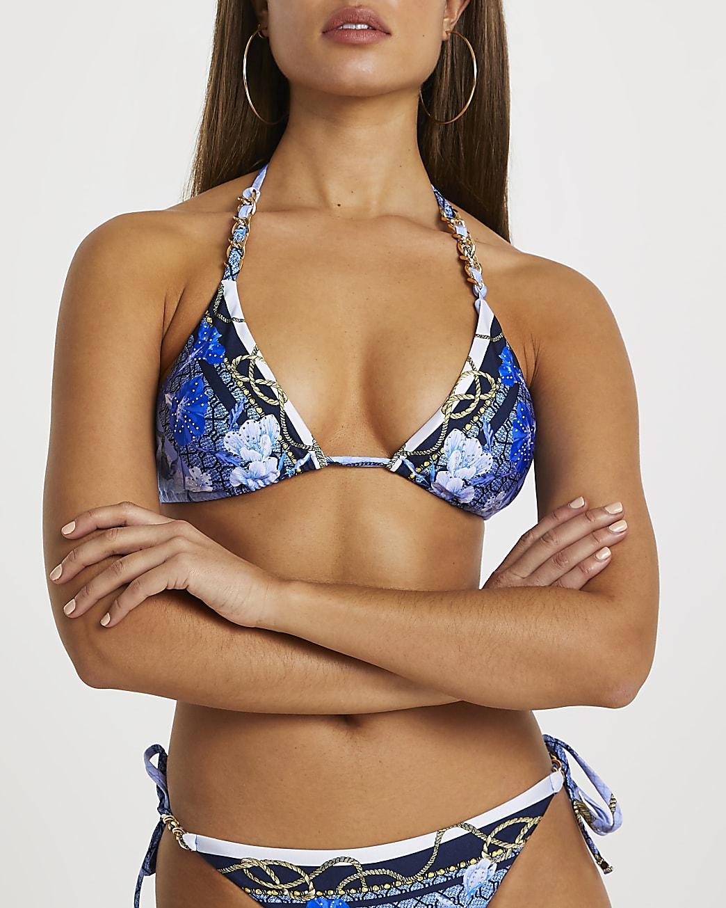Blue RI floral print triangle bikini top