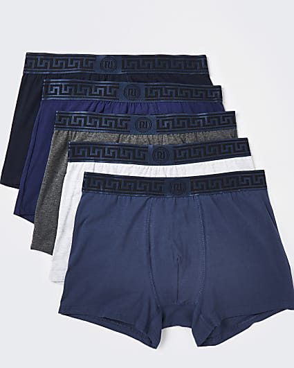 Blue RI Greek waistband trunks 5 pack