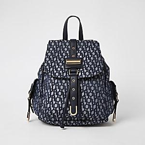 Blauer Rucksack aus Jacquard mit RI-Muster und Frontschloss