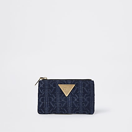Blue RI jacquard mini zip pouch purse