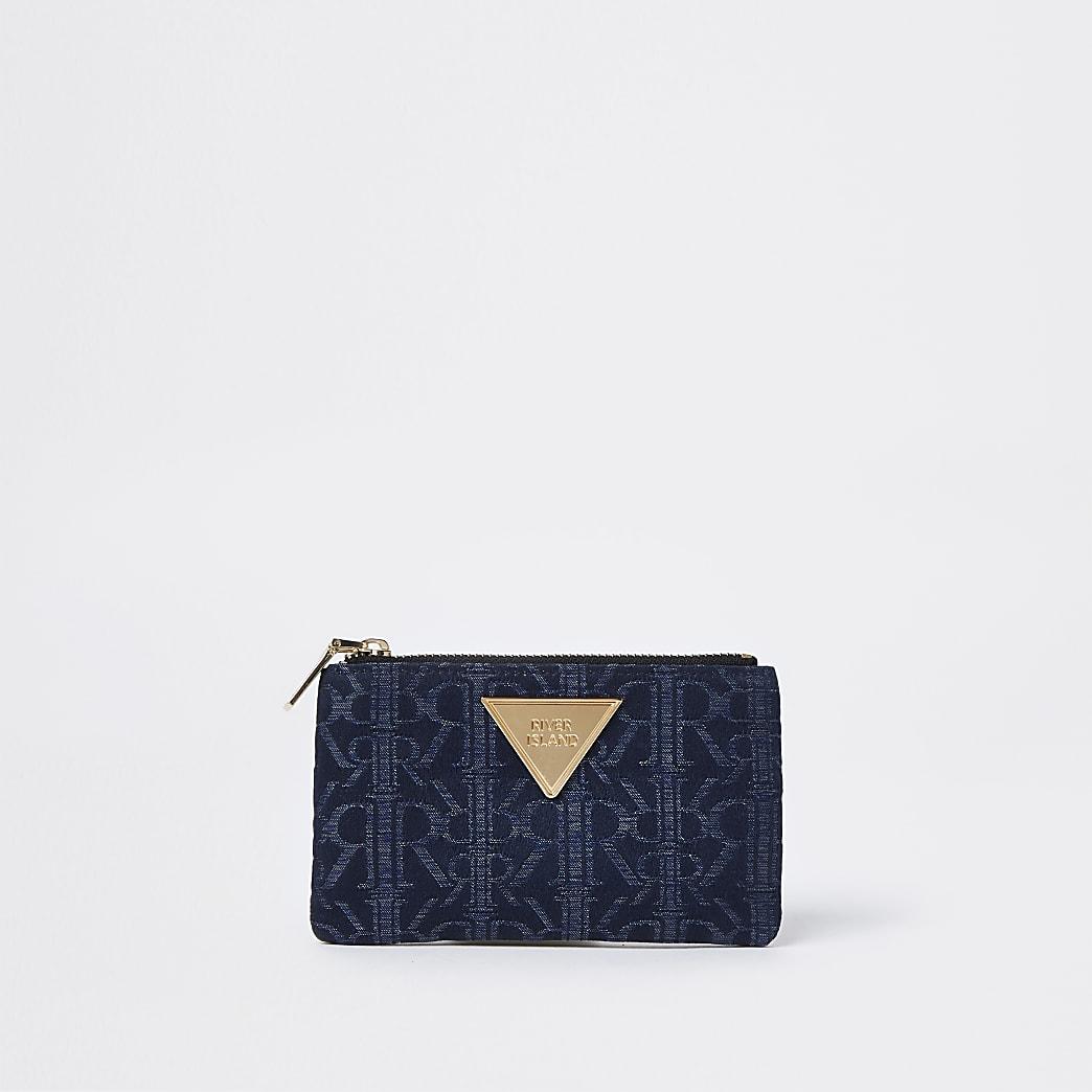 Blue RI jacquard mini zip pouch purse