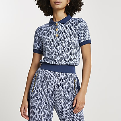Blue RI jacquard polo top