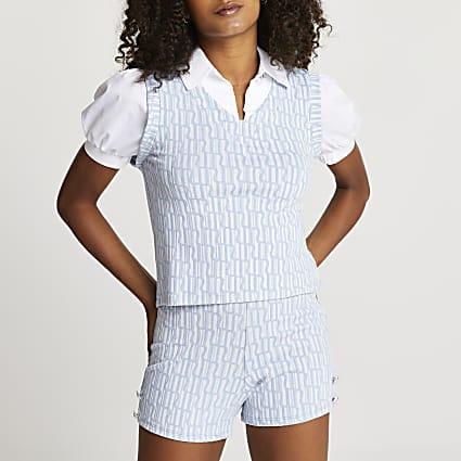 Blue RI jacquard puff sleeve top