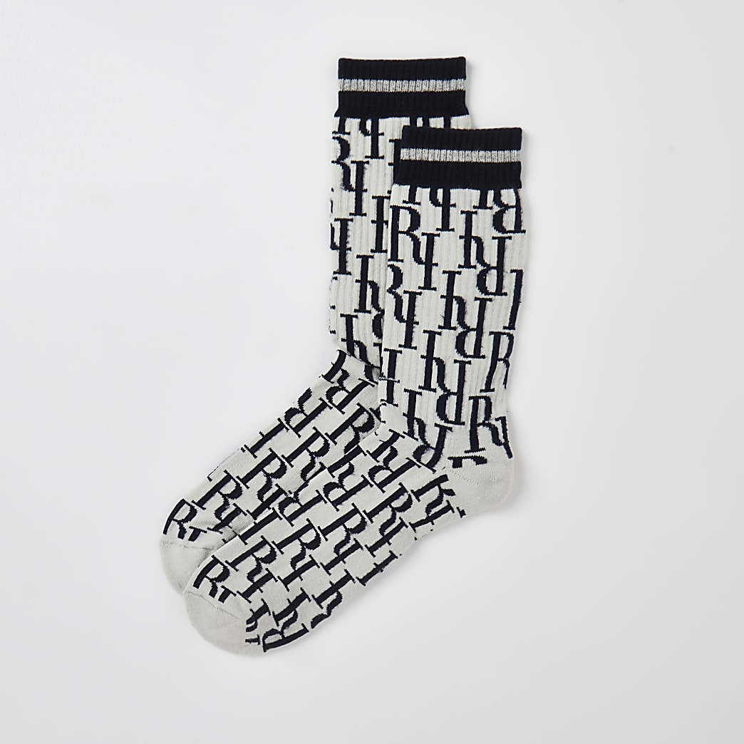 Blue RI jacquard socks