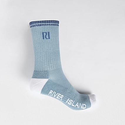 Blue RI logo tube sports sock
