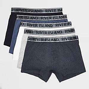 Lot de 5 boxers longs bleus à taille RI métallisée