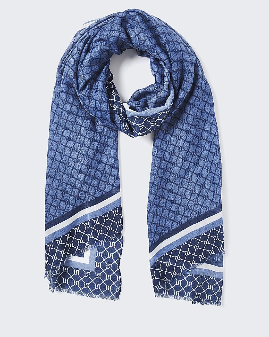 Blue RI monogram border scarf