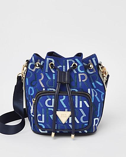 Blue RI monogram bucket bag