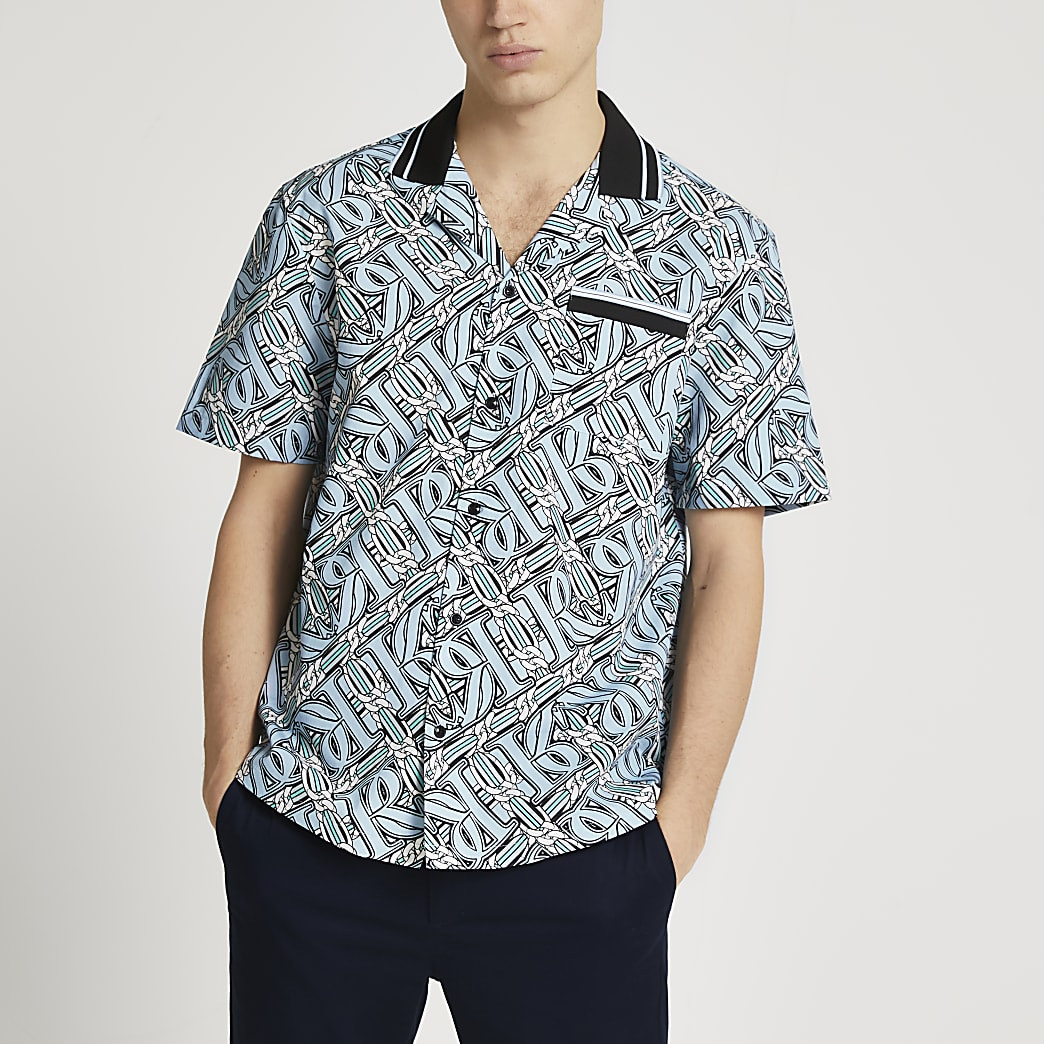 Blue RI monogram chain print revere shirt