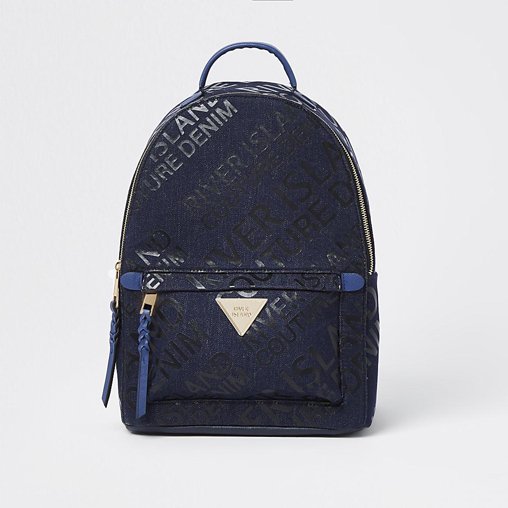 Blue RI monogram denim backpack