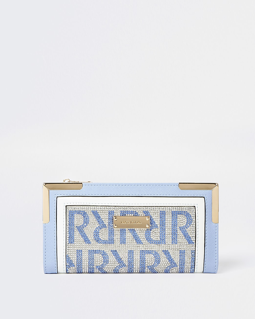 Blue RI monogram embellished purse