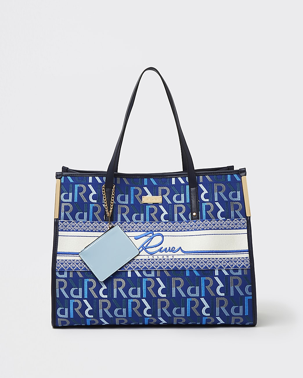 Blue RI monogram embroidered shopper bag
