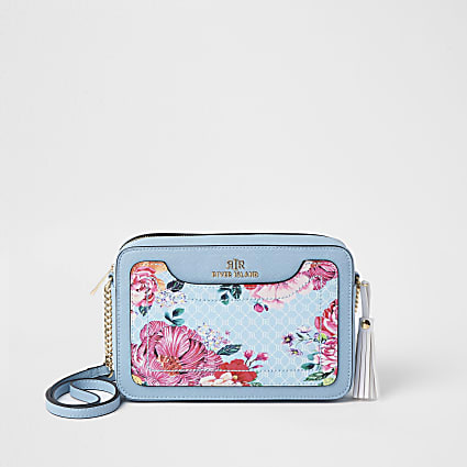 Blue RI monogram floral boxy cross body bag