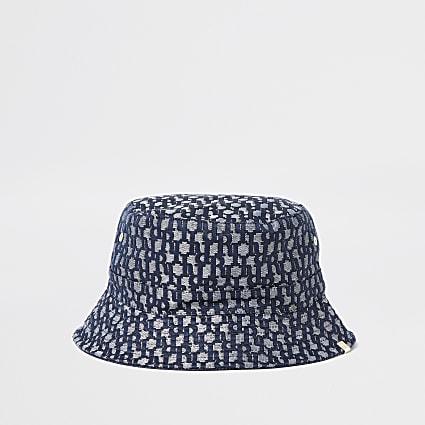 Blue 'RI' monogram jacquard bucket hat