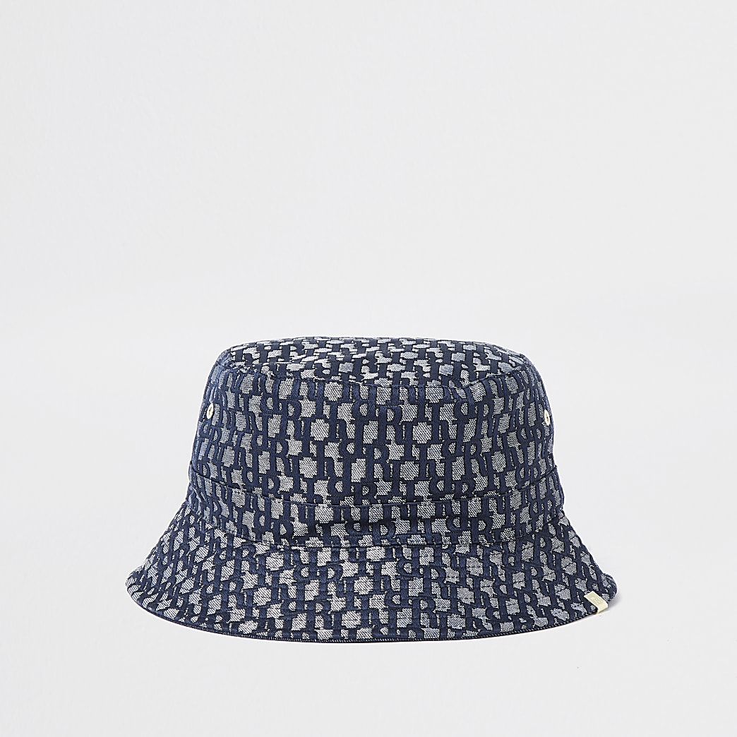 Blue 'RI' monogram jacquard bucket hat