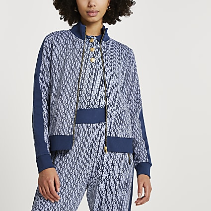 Blue RI monogram jacquard zip through jacket