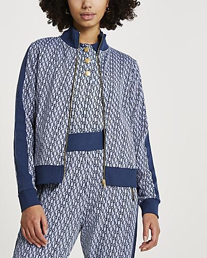 Blue RI monogram jacquard zip through jacket