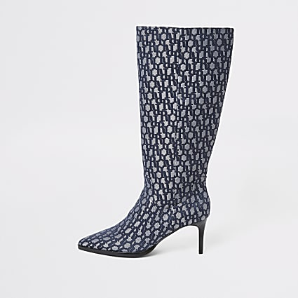 Blue RI monogram knee high pointed boots