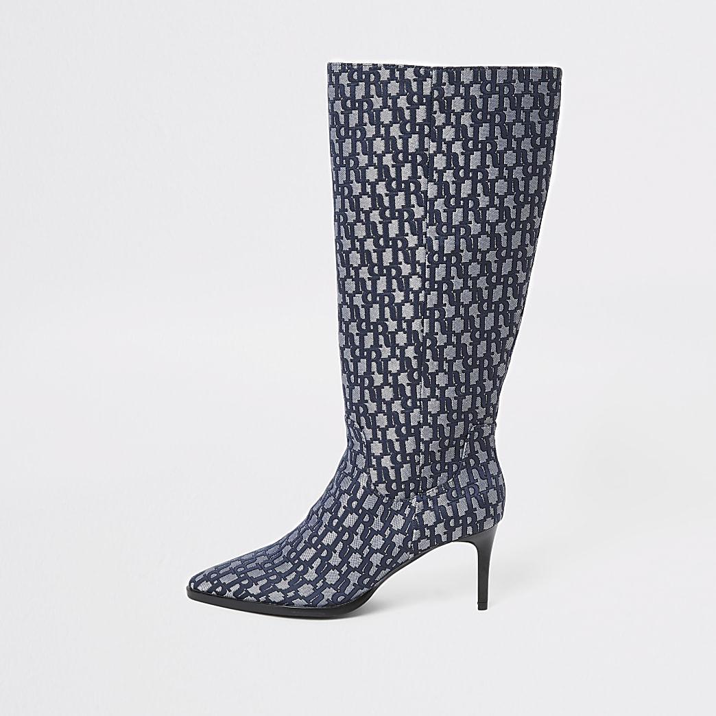 Blue RI monogram knee high pointed boots
