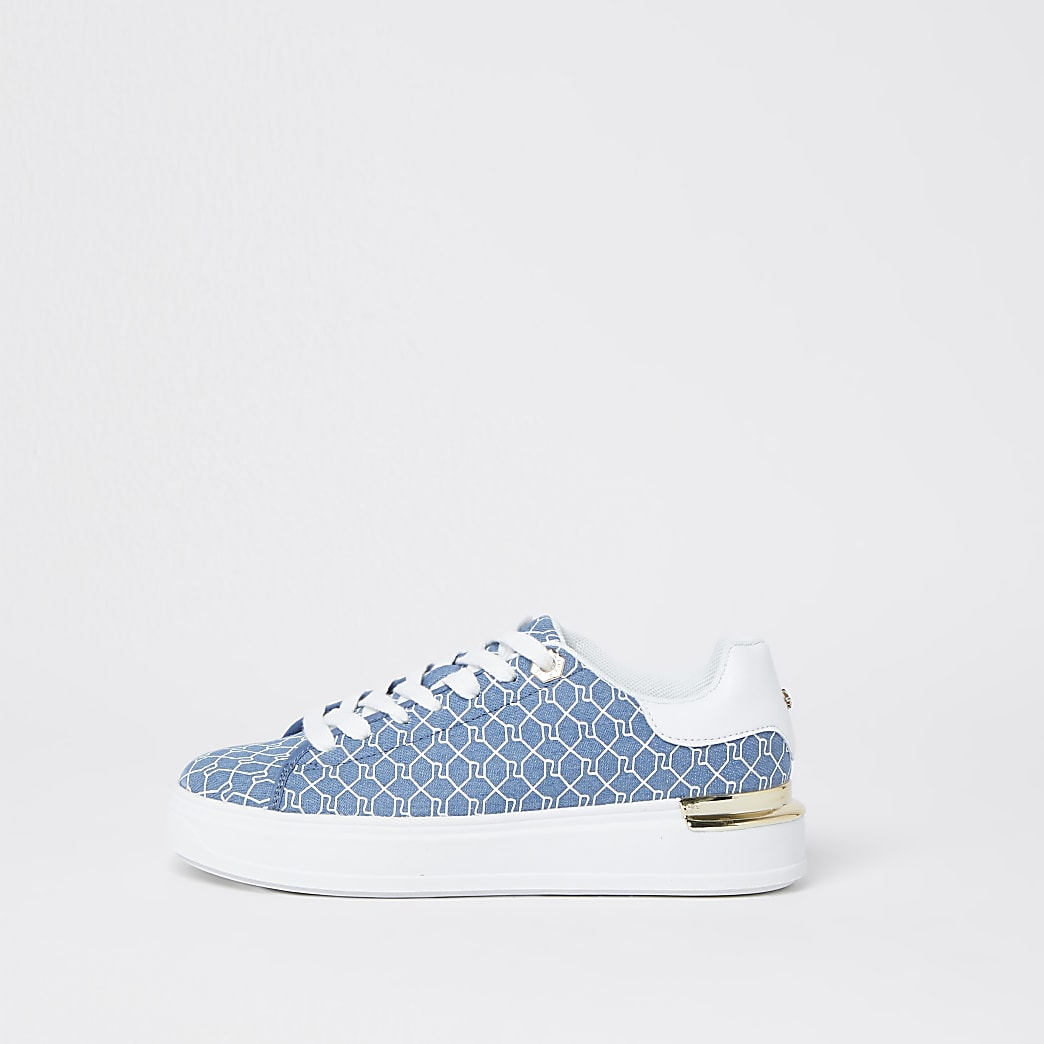 Blue RI monogram lace up trainers