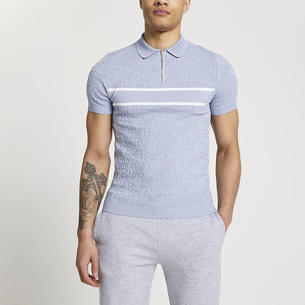 Blue RI monogram muscle fit polo shirt